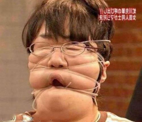 Очередное Японское шоу. Наматываем на лицо веревку.